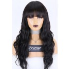 """Real Scalp 3.5""""×3"""" Silk Top Full Bangs Wigs, Indian Remy Human Hair Body Wave 150% Thick"""