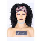 Human Hair Glueless Headband Wig Quick Protective Style Kinky Coily, 1# 14 inches, Average Size 200% Extra Thick Density