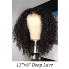 """Deep Curls 13""""×6"""" Lace Front Wig Indian Remy Human Hair [Pre-bleached knots only for natural color,Pre-plucked hairline,Removable elastic band]"""