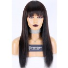 """Full Bangs Wig With Real Scalp 3.5""""×3"""" Silk Top,Indian Remy Human Hair Yaki Straight 150% Thick Density"""