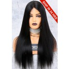 150% Density Affordable Lace Wig, Yaki Straight Middle Part, Indian Remy Hair,Average Cap Size,1B# Off Black Color