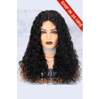 150% Density Affordable Lace Wig Wet Wavy Indian Remy Hair,1B#  Color, Middle Part,Lace Base Parting