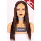 """Large Size 23.5"""" Light Yaki Full Lace Wig Brazilian Virgin Hair 16 inches & 18 inches, 120% Normal Density, Light Brown Lace"""