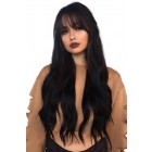 Black Long Straight Hair With Bangs 360 Lace Wig, Indian Remy Hair 150% Thick Density, Pre-Plucked Hairline