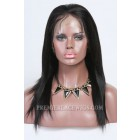 Clearance Glueless Full Lace Wig,Yaki Straight,Chinese Virgin Hair,1B# Color,12 inches,120% Normal Density,Large Cap Size,Adjustable Straps and Combs