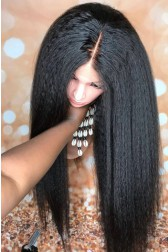 """Kinky Straight 13""""x6"""" Lace Frontal Wig [Pre-bleached knots only for natural black,Pre-plucked hairline,Removable elastic band]"""