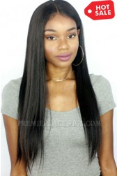 Yaki Textured Straight 360 Lace Wig.Indian Remy Hair,Pre-Plucked Hairline,Removable Elastic Band