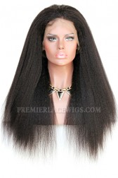 Kinky Straight Blowout Style 360 Lace Wig,Indian Remy Hair,150% Thick Density,Pre-Plucked Hairline,Pre-Added Removable Elastic Band