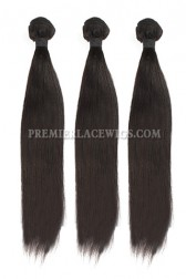 3 Bundles Deal Peruvian Virgin Hair Natural Color Light Yaki Hair Extension