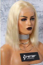 """613# Blonde Hair Bob Cut 4.5"""" Lace Front Wig Silky Straight"""
