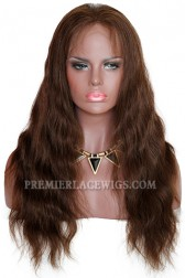 Brown Color 4# Natural Wave Full Lace Wigs Indian Remy Hair