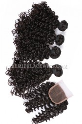 Peruvian Virgin Hair Candy Curl A Lace Closure With 4 Bundles Deal