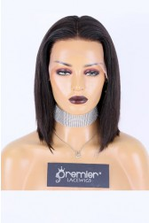 """Blunt Cut Bob 13""""×4"""" Lace Front Wig,Indian Remy Human Hair Silky Straight [Pre-Bleached Knots Only For Natural Color,Pre-Plucked Hairline,Removable Elastic Band]"""