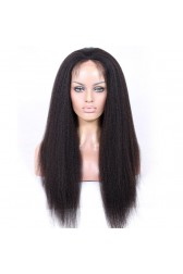 Full Lace Wigs 100% Hand-Tied, Indian Remy Human Hair Kinky Straight  [Pre-order Now,Ship On October]