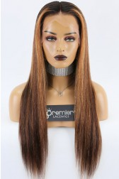 """Highlight Hair Bone Straight 13""""x6"""" Lace Frontal Wig [Pre-bleached knots,Pre-plucked hairline,Removable elastic band]"""