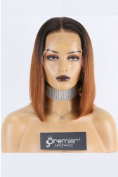 "Elyse--Copper Hair Bone Straight Blunt Cut Bob 13""x6"" Lace Frontal Wig,150% Thick Density [Pre-bleached knots,Pre-plucked hairline,Removable elastic band]"