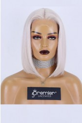 Ash Gray Blonde Bob Affordable Middle Part T Lace Wig, Indian Remy Human Hair