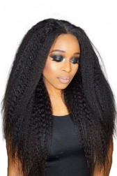 "Kinky Straight 6"" Deep Part 360° Lace Wig, Pre-plucked Hairline,Removable Elastic Band"