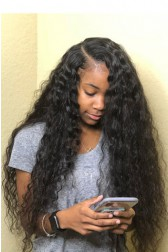 "Deep Side Part Wavy Hair 13""x6"" Lace Frontal Wig.[Pre-Bleached Knots,Pre-Plucked Hairline,Removable Elastic Band]"