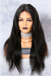 "Silky Straight 13""x6"" Deep Part Lace Frontal Wig [Pre-bleached knots only for natural black,Pre-plucked hairline,Removable elastic band]"