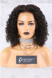 "13""x4"" Lace Frontal Wig,Middle Part Textured Bob,Curly Style,14"" 150% Thick Density   [Pre-Bleached Knots,Pre-Plucked Hairline,Removable Elastic Band]"