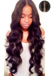 "Indian Remy Hair Loose Wavy,4.5"" Super Deep Middle Part Lace Front Wigs,Pre-Plucked Hairline"