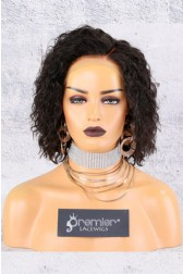 "13""x6"" Lace Frontal Wig,Wet Wavy Textured Bob,Side Part,Short Style 8"",150% Thick Density   [Advanced Pre-Bleached Knots,Pre-Plucked Hairline,Pre-Added Removable Elastic Band]"