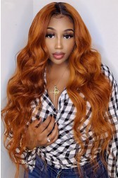 """Ginger Hair With Dark Roots Super Thin Transparent 5""""x5"""" HD Lace Closure Wig, Indian Remy Human Hair Body Wave [Pre-bleached knots, Pre-plucked hairline, Removable elastic band]"""