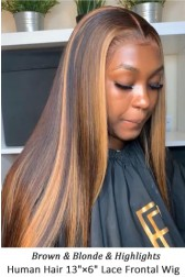 "Highlight Hair Bone Straight 13""x6"" Lace Frontal Wig [Pre-bleached knots,Pre-plucked hairline,Removable elastic band]"