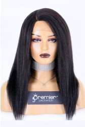 Blowout Kinky Texture Affordable Side Part Wig, Indian Remy Human Hair 1B# Off Black Color 16 inches 120% Normal Density,Average Size,Medium Brown Lace