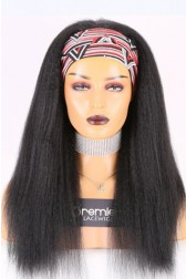 Human Hair Glueless Headband Wig Quick Protective Style Blowout Kinky Straight, Average Size