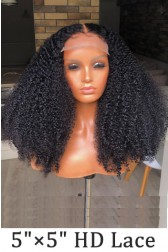 "Super Thin Transparent HD Lace, 5""x5"" HD Lace Closure Wig, Kinky Curly Indian Remy Human Hair  [Pre-bleached knots only for natural black color, Pre-plucked hairline, Removable elastic band]"