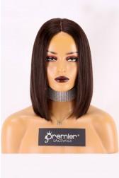 "Real Scalp Silk Base Closure Wig 3.5"" x 4"", Blunt Cut Bob Silky Straight, Natural Black 150% Thick Density, Average Size 22""-22.5"""