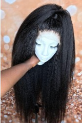 Deja--Super Thin Transparent HD Lace, Blowout Kinky Texture Indian Remy Human Hair Lace Wig [Pre-bleached knots only for natural black color, Pre-plucked hairline, Removable elastic band]