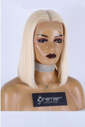 613# Blonde Color Blunt Cut Bob Indian Remy Human Hair Middle Part T Lace Wig