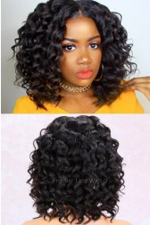 """Wand Curls Italian Yaki Textured Bob,13""""x4.5"""" Lace Frontal Wig,African Americans Texture [Advanced Pre-Bleached Knots,Pre-Plucked Hairline,Pre-Added Removable Elastic Band]"""