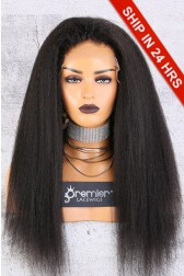 Affordable 13x4.5 Lace Frontal Wig,Kinky Straight Indian Remy Hair Natural Color,150% Thick Density [Pre-Bleached Knots,Pre-Plucked Hairline,Removable Elastic Band]