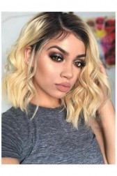 613# Blonde Ombre Color Black Roots,Short Wavy Bob,4.5'' Lace Front Wig,100% Human Hair