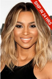 Ciara Style Virgin Hair Lace Front Wig,Ombre Blonde Color, Shoulder-Length Haircut