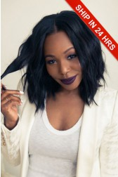 Black Choppy Bob Style Middle Part Human Hair Lace Front Wigs,Average Cap Size