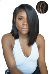 """Swept Bangs Bob Style,4.5"""" Super Deep C Side Part, Yaki Straight Indian Remy Hair Lace Front Wigs,Pre-Plucked Hairline"""
