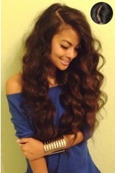 """Indian Remy Hair Wavy,4.5"""" Super Deep C Side Part Lace Front Wigs,Pre-Plucked Hairline"""
