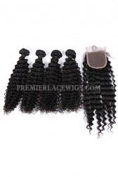 Deep Wave Virgin Indian Human Hair Extension A Lace Closure With 4 Bundles Deal