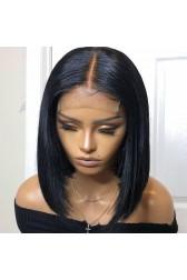 "Real Scalp 4""×4"" Silk Top Closure Wig, Bob Cut Bone Straight Indian Remy Human Hair 150% Thick"