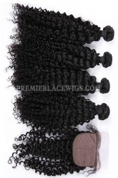 Water Wave Virgin Indian Human Hair Extension A Silk Top Closure With 4 Bundles Deal