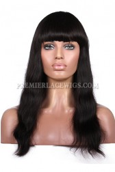 Natural Straight Full Bangs Wig Indian Remy Hair With Natural Looking Silk Top Hair Whorl{Processing Wait Time 20 Days }