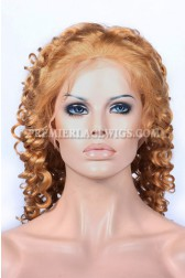 27# Blonde Color Chinese Virgin Hair Spiral Curl Full Lace Wigs
