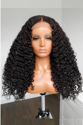 """Super Thin Transparent 5""""×5"""" HD Lace Closure Wigs,Tight Curls Indian Remy Human Hair [Pre-bleached knots only for natural color, Pre-plucked hairline, Removable elastic band]"""