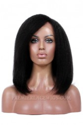 Kinky Straight Side Part Medium Bob Style Brazilian Virgin Hair Improved 360°Anatomic Lace Wigs,150% Thick Density ,Pre-Plucked Hairline