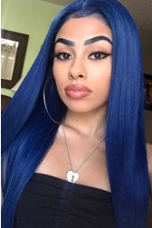 """Colored Human Hair 4.5"""" Lace Front Wigs Indian Remy Hair Silky Straight"""